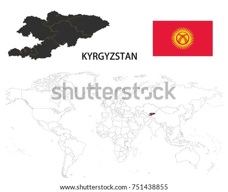 kyrgyzstan map on a world map with flag on white background