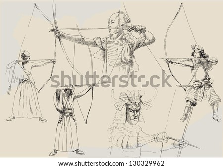 Kyudo collection. /// A hand drawn illustrations converted into black vector outlines. Each Samurai is in special layer. - stock vector