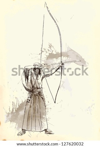 Kyudo - modern Japanese martial art. /// A hand drawn illustration converted into vector of an Samurai shooting an arrow from a bow. Vector is editable in 4 layers. - stock vector