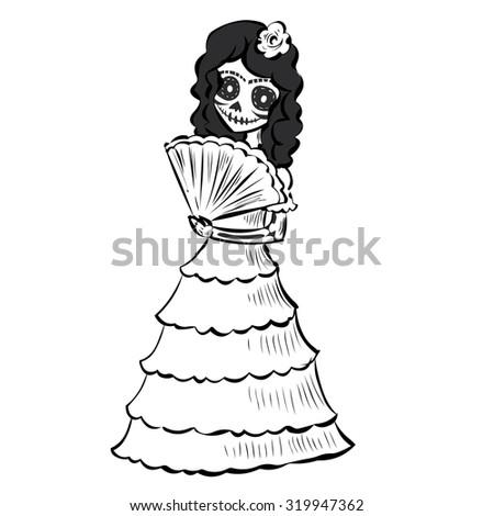 La Calavera Catrina. Elegant Skull. Dia de Muertos. Mexican tradition. Hand drawn vector illustration - stock vector
