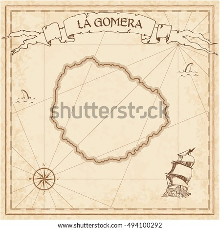 La Gomera old treasure map. Sepia engraved template of pirate island parchment. Stylized manuscript on vintage paper.