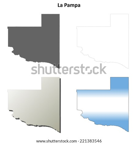 La Pampa blank outline map set - stock vector