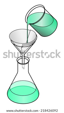 Lab concept: filtration. Removing colloidal suspension / muddiness to gain clarity.  - stock vector