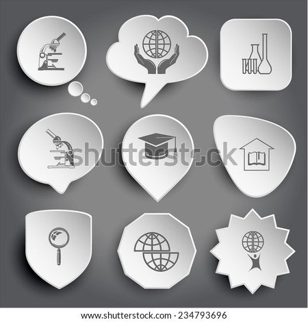 lab microscope, protection world, chemical test tubes, graduation cap, library, magnifying glass, shift globe, little man with globe. White vector buttons on gray. - stock vector