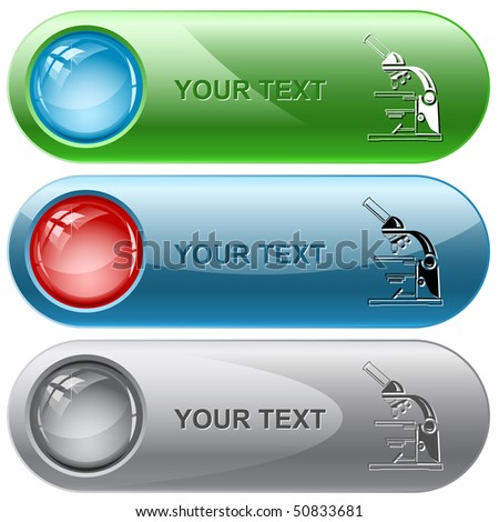 Lab microscope. Vector internet buttons. - stock vector