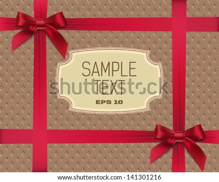 label and bows on the texture background - stock vector