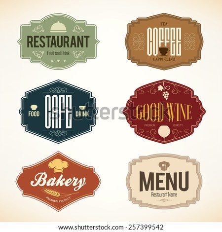 Label and logo set for restaurant menu design - stock vector