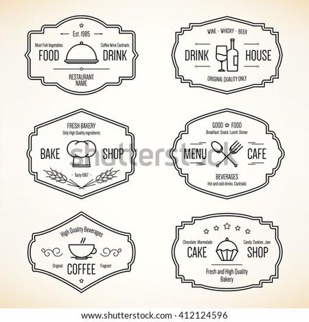 Label and logo set for restaurant menu design. Food and drinks logotype symbol design.  - stock vector