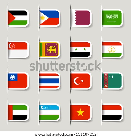 Label - Asian Flags - stock vector