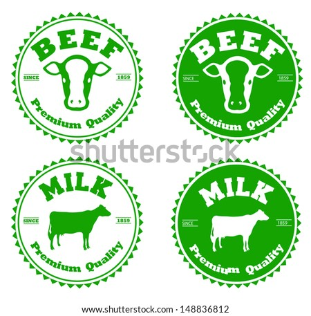 Label beef and milk - stock vector