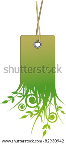 Label clean natural fiber with rope - stock vector