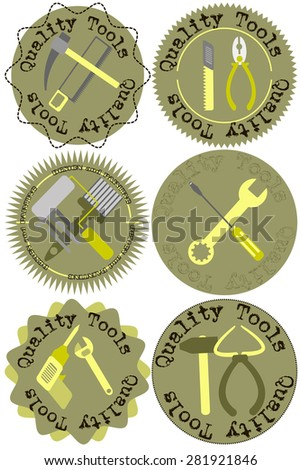 label construction tools - stock vector