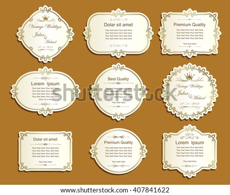 Label cutout paper frames with flourish decoration,Vintage frame set on striped seamless background. Calligraphic design elements. - stock vector