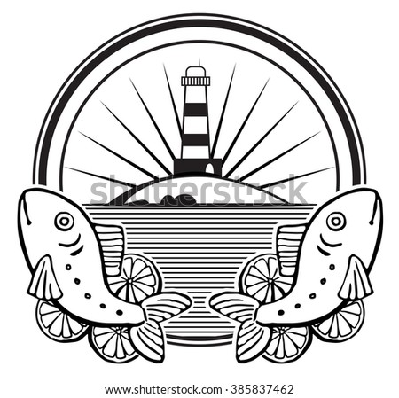 Label Design, with drawn fresh fish, vector illustration black and white graphic, isolated on white - stock vector