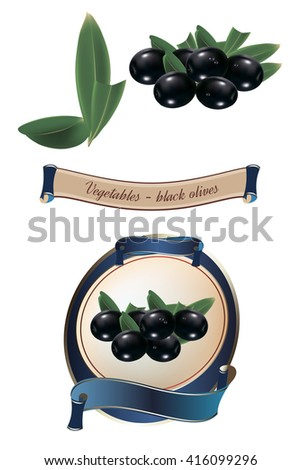 Label for a product with photo-realistic vector illustration of olives. Isolated on white background. - stock vector
