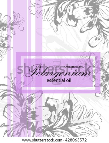 label for essential oil of geranium with hand drawn leaves