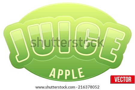 Label for green apple juice. Bright premium quality design. Editable Vector Illustration isolated on white background. - stock vector