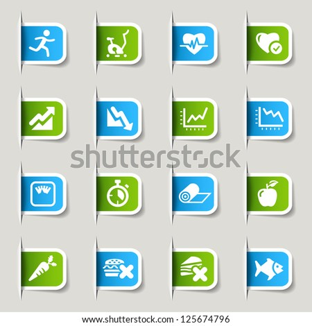 Label - Health and Fitness icons - stock vector