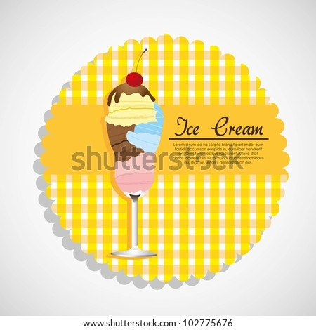 label ice cream in crystal glass, vector illustration - stock vector
