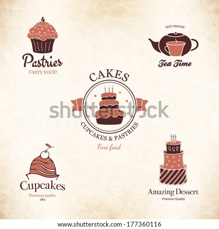 Label, logo set for restaurant menu, bakery and pastry shop