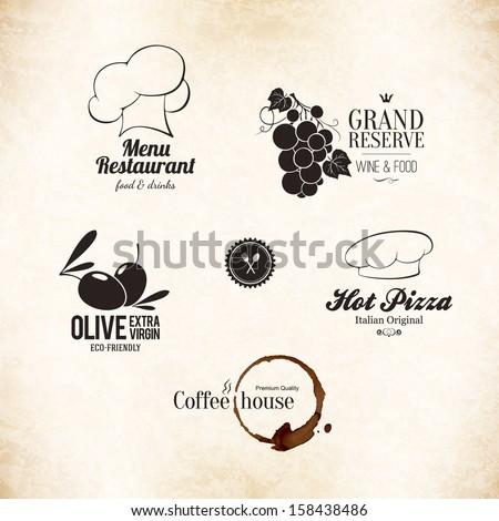 Label, logo set for restaurant menu design - stock vector