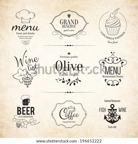 Label, logo set for restaurant menu design - stock vector