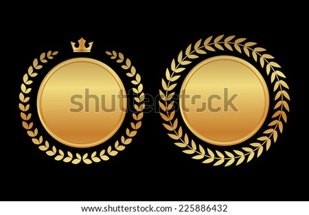 label medal gold laurel wreath - design element - stock vector