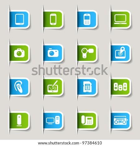 Label - Media Icons - stock vector