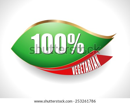 Label or Badge With 100 percent vegetarian text on green leaf design- vector eps10 - stock vector