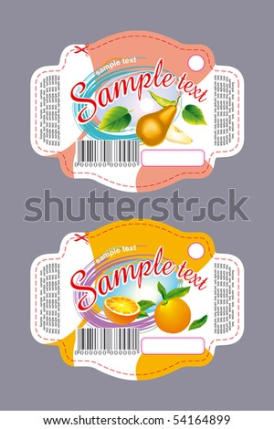 Label orange and pear - stock vector