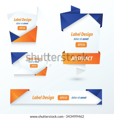 Label, Ribbon Origami, 2 color blue and orange - stock vector