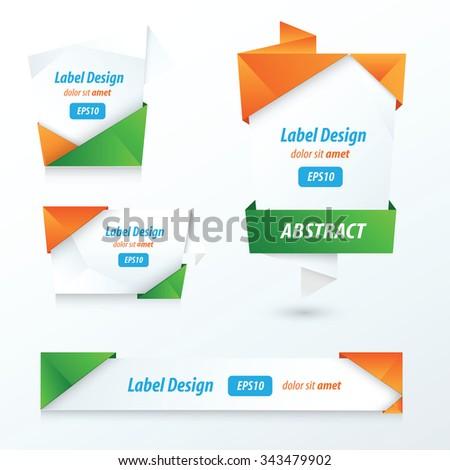 Label, Ribbon Origami Style, orange, green, blue - stock vector