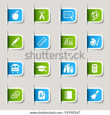 Label - School Icons - stock vector