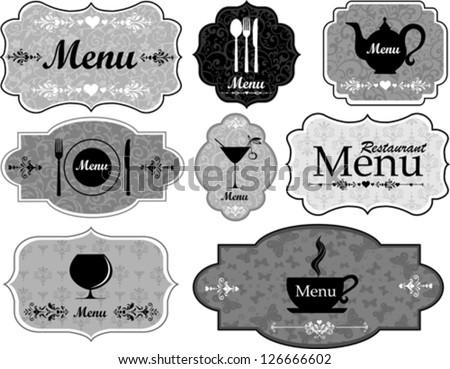 Label set for restaurant and cafe. Vector Illustration - stock vector