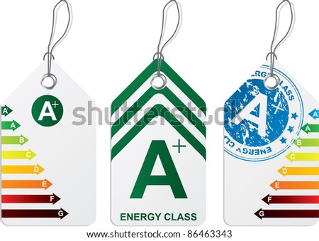 Label set with energy class  A plus - stock vector