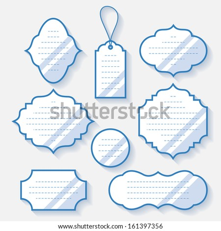 Label set with outline and shadow. Vector illustration