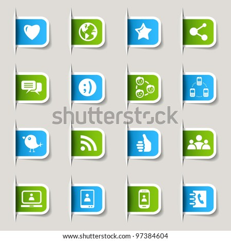 Label - Social media icons - stock vector
