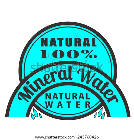 Label stamp with text Mineral water on vector illustration