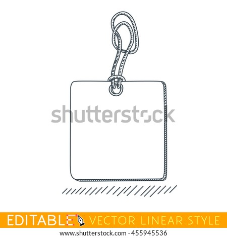 Label Tag with rope. Editable vector graphic in linear style.