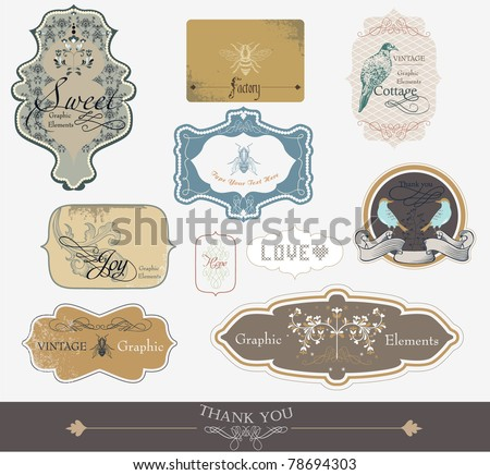 label tags for all kind of needs -scrapbook and wedding invitation card series - stock vector