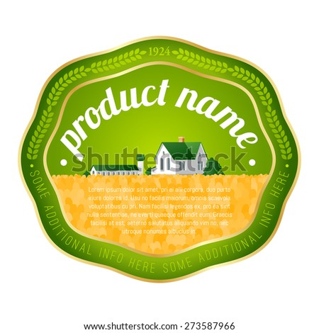 label template with rural landscape - stock vector