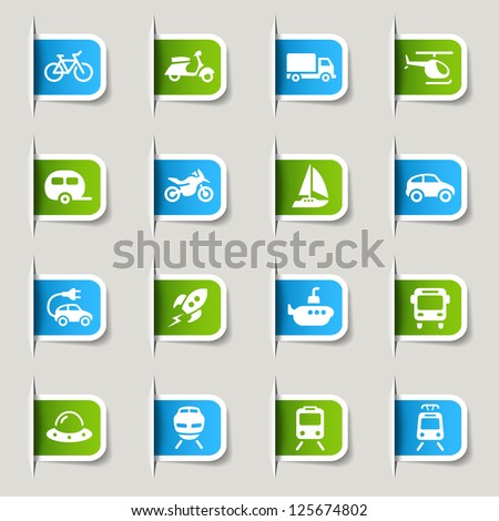 Label - Transportation icons - stock vector