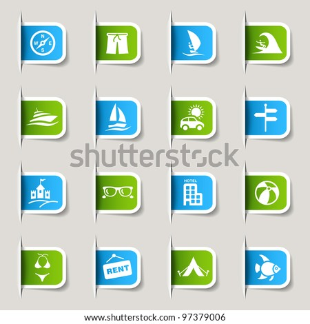 Label - Vacation icons - stock vector