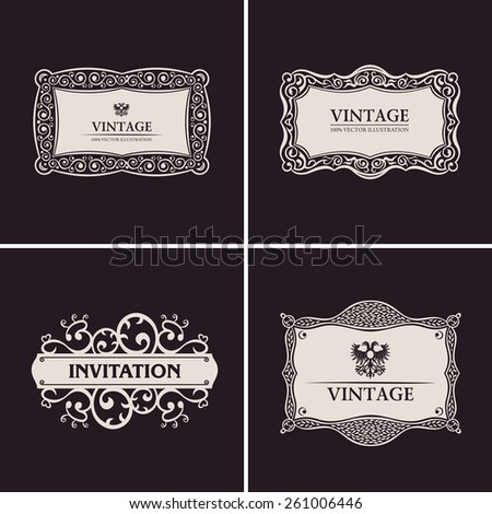 Label vector frames elegant border set. Vintage banner design black ornament - stock vector