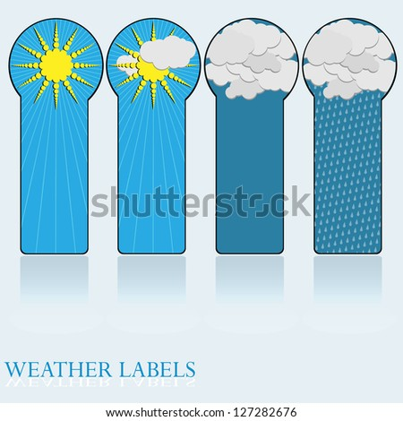 Label- Weather Icons sun,partly cloudy,clouds,rain. - stock vector