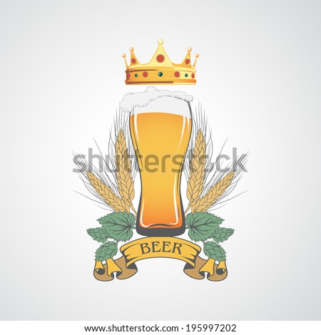 Label with a beer mug and a crown. - stock vector