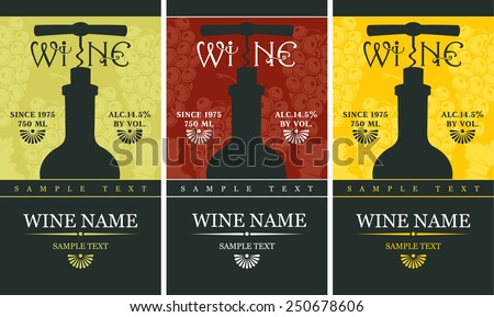 label with a bottle of wine and a corkscrew - stock vector