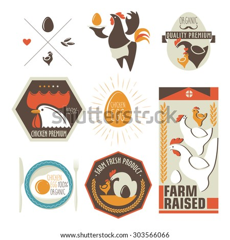 label with a picture of a chicken - stock vector