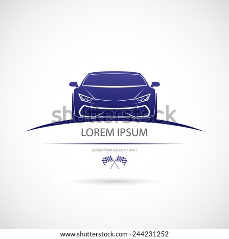 Label with a picture of a racing car. Vector - stock vector