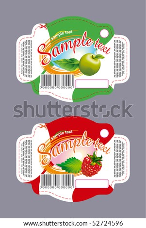 Label with apple and raspberry - stock vector